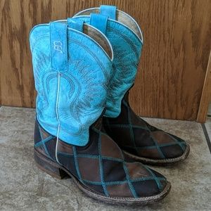 ANDERSON BEAN youth sz 3 cowboy boots leather euc